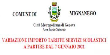 VARIAZIONE IMPORTO TARIFFE SERVIZI SCOLASTICI A PARTIRE DAL 7 GENNAIO 2021