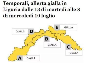 METEO - ALLERTA GIALLA PER TEMPORALI