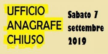 UFFICIO ANAGRAFE CHIUSO - SABATO 7 SETTEMBRE 2019